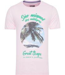 camiseta masculina great scape - rosa