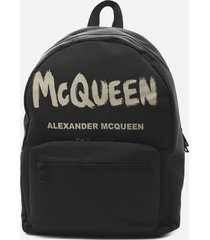 alexander mcqueen metropolitan backpack in cotton canvas with contrasting logo print