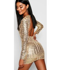 boutique sequin open back bodycon dress, gold