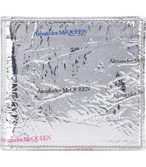 alexander mcqueen logo print metallic wallet - silver