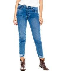 mom fit cropped jeans eco recycle con rotos en ruedo color blue