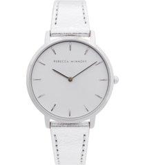 rebecca minkoff women's major silver-tone metallic leather strap watch 35mm