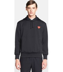 men's comme des garcons play pullover hoodie, size small - black