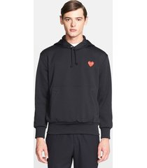 men's comme des garcons play pullover hoodie, size x-large - black