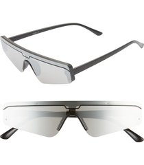 women's rad + refined cyberfunk sport flat top shield sunglasses - black/ silver lens