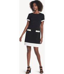 tommy hilfiger women's essential short-sleeve dress black/cream - 2