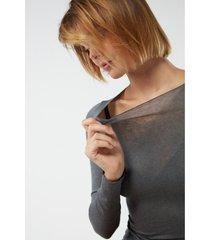 blusa modal cashmere ultralight decote canoa intimissimi modal e cashmere cinza - cinza - feminino - dafiti
