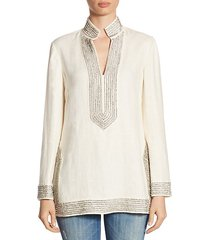 crystal-embellished linen tunic