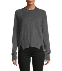 frame women's split-hem cashmere sweater - dark grey - size xl