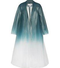 oscar de la renta ombré-effect tulle coat - blue