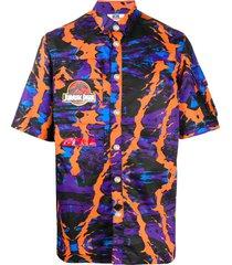 gcds abstract print multi-pocket shirt - purple