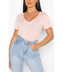 basic superzacht t-shirt met v-hals, blush