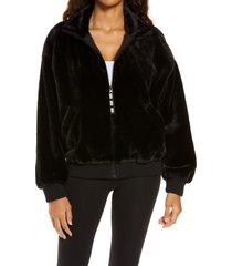 women's ugg laken mock neck fleece jacket, size x-small regular - black