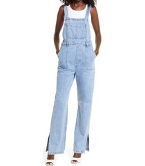 women's we wore what slouchy slit denim overalls, size large - blue