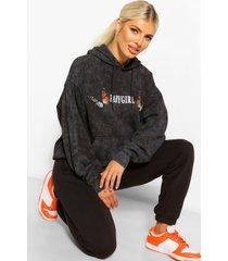 acid wash gebleekte oversized babygirl hoodie met vlinder mouwen, black