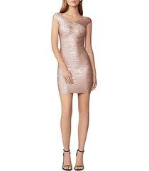 off-the-shoulder metallic bandage dress