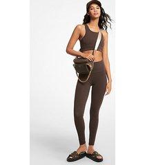mk leggings in nylon stretch con logo - cioccolato (marrone) - michael kors
