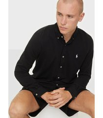 polo ralph lauren featherweight long sleeve knit skjortor black