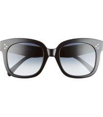 celine 54mm gradient square sunglasses in black/grey at nordstrom