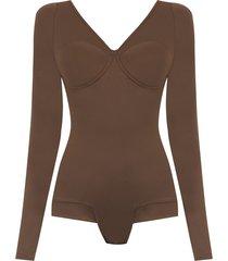amir slama long sleeved bodysuit - brown