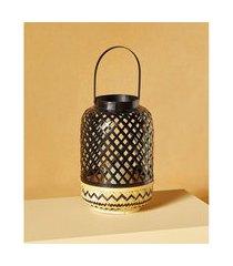 luminária de bambu cor: preto e natural - tamanho: único