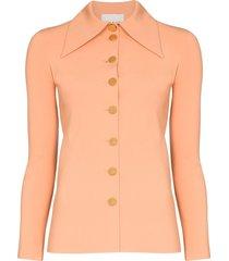 a.w.a.k.e. mode wide collar button-up shirt - orange