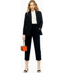 tall black buckle peg dress pants - black