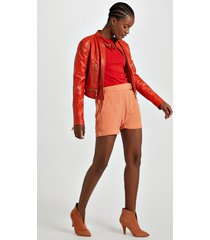 shorts de crepe sarouel fivela laranja califórnia