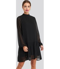 na-kd party high neck balloon sleeve mini dress - black