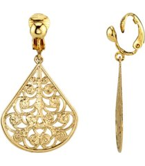 2028 gold tone filigree teardrop clip earrings