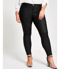 river island womens plus black coated molly mid rise jeggings