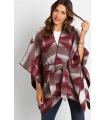 maurices womens reversible plaid geo print tie waist ruana purple