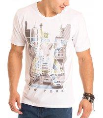 camiseta masculina new york estampa frontal ecológica - area verde
