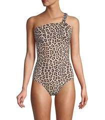leopard-print 1-piece swimsuit