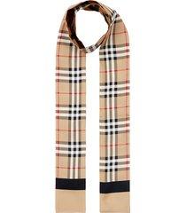 burberry vintage check skinny scarf - neutrals