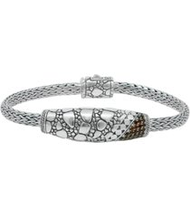 color cubic zirconia (1/20 ct. t.w.) crocodile signature bracelet with dragon bone chain in sterling silver and 18k yellow gold accents