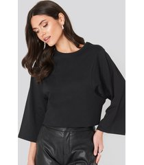 na-kd basic 3/4 sleeve oversized tee - black