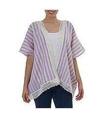cotton vest, 'lavender stripes' (mexico)