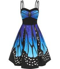 empire waist butterfly print cami knee length dress