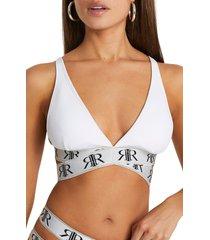 river island tape wrap high apex bikini top, size 4 us in white at nordstrom