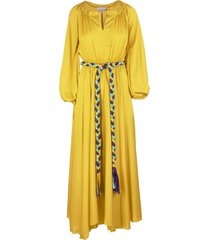 yellow long dress with braided belt