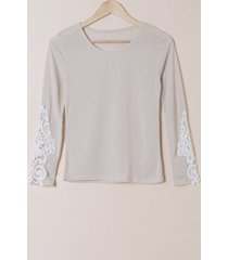 stylish scoop neck long sleeve slimming hollow out women's t-shirt