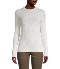 donna karan women's ribbed wool-blend sweater - ivory - size xl