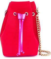 casadei small ribbed bucket bag - red