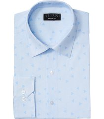 alfani men's classic/regular fit performance stretch triangle maze print dress shirt, created for macy's