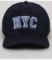 """boné masculino aba curva com bordado """"nyc"""" azul marinho"""