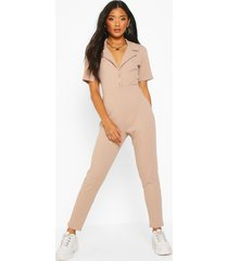 soft ribbed collar detail button through jumpsuit, taupe