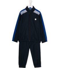 boss kidswear contrasting side panel tracksuit set - blue