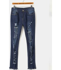 azul rasgado al azar detalles bolsillos laterales detalles de borla jeans