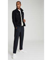 reiss jagger - suede trucker jacket in navy, mens, size xxl